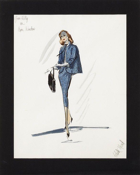 Orignal Edith Head costume sketch for Grace Kelly in Rear Window.