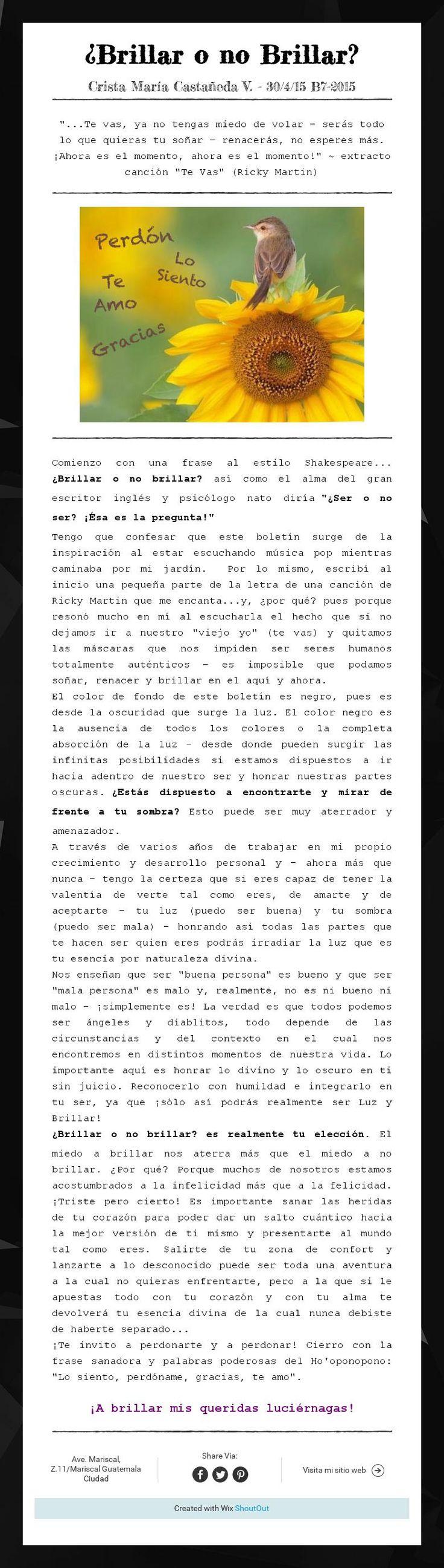 ¿Brillar o no Brillar?Crista María Castañeda V. - 30/4/15 B7-2015