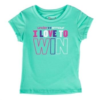 Under Armour® Girls 4-6x HeatGear® Love to Win Tee #VonMaur #UnderArmour #Graphic #Teal