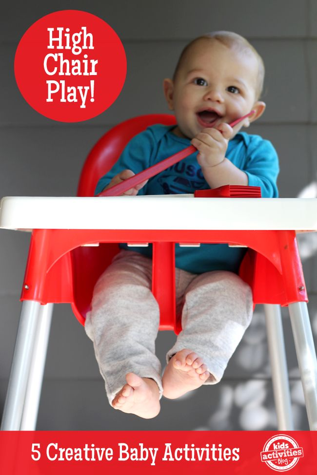 Super fun baby games in the high chair!  These can help you while you start dinner or do a few dishes because your little one can play safely next to you.