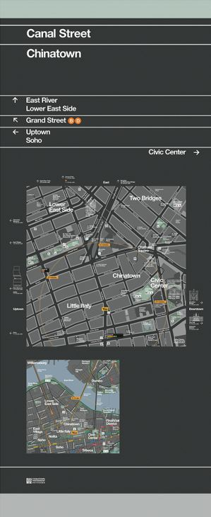 New pedestrian maps for NYC. By PentaCity, a group made up of graphic design studio Pentagram, map makers City ID and industrial designers Billings Jackson.