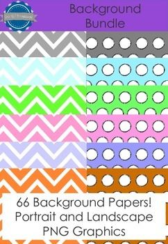 Spotty and chevron backgrounds in a variety of colors, portrait and landscape resulting in 66 background papers! Including 10 two-tone chevron backgrounds! These background papers are suitable for personal and commercial use.   The files are PNG format, vector images - meaning you can re-size them without any loss of quality!