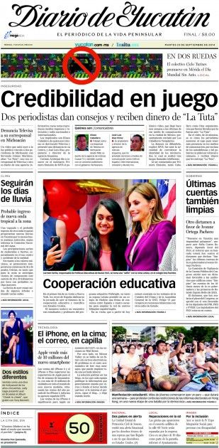 23 / Sep / 2014. Portada | El Diario de Yucatán