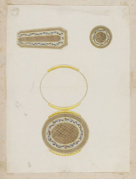 In about 1790, the goldsmith, Jean Ducrollay (1710-1787) designed these three designs for a mourning set consisting of a miniature case for attachment to a ribbon, a coffin-shaped snuffbox, and a small circular box. The designs are from an album of designs that date from about 1735-1820 and includes those for snuff boxes, scent holders, watches and watch cases, spoons, fans and fan mounts, small swords, and chatelaines (ornamental chains, pins, or clasps usually worn at a woman's waist, to…