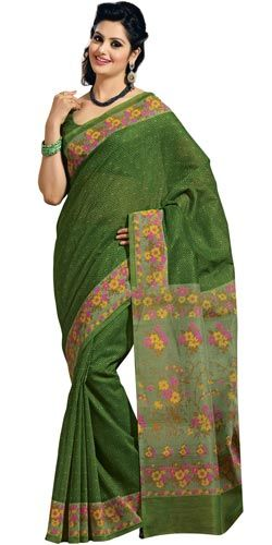 Remarkable cotton floral print saree in green colour to Bangalore, Karnataka Rs. 1290 / USD 21.50