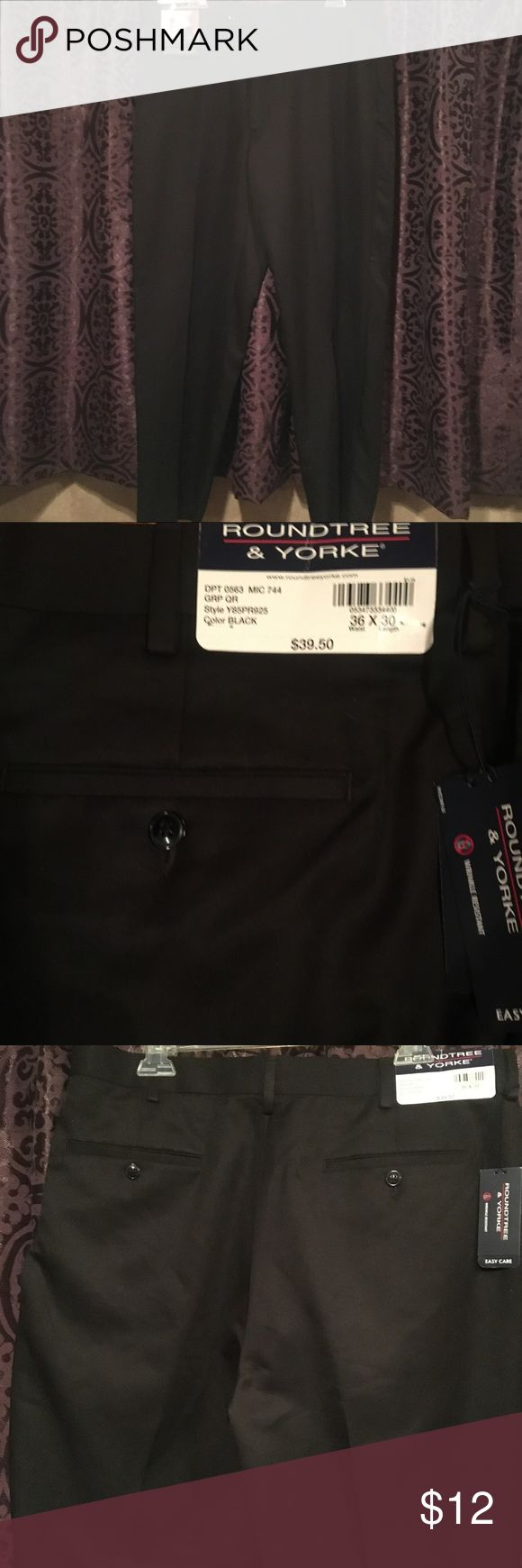 NWT Roundtree & Yorkee 36/30 Brand New Men's Rayon wrinkle free dress pants ! Front pockets and back flat designer pockets . Paid $40 for these at Dillard's but were too small. Perfect condition! No rips , snags , fading ! Very soft and comfortable! Roundtree & Yorke Pants Dress