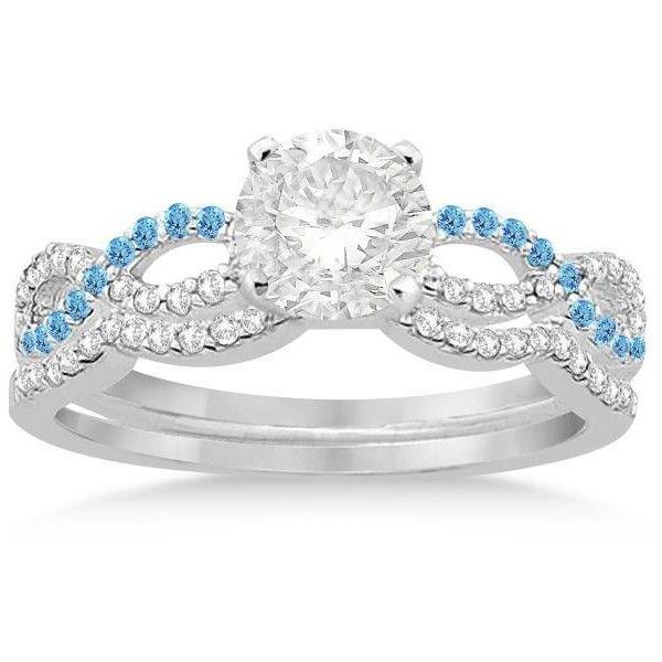 Allurez Infinity Diamond & Blue Topaz Engagement Ring Set 14k White... ($1,530) ❤ liked on Polyvore featuring jewelry, rings, white gold diamond rings, diamond infinity ring, diamond rings, 14k white gold ring and diamond wedding rings