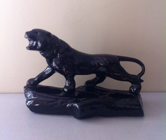 Vintage 1950s 1960s Ceramic Black Panther By