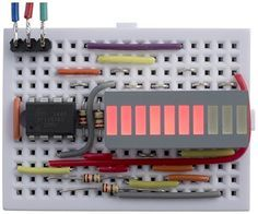 ATtiny85 Bargraph Voltmeter This article describes a simple bargraph display driven by an ATtiny85. It measures the voltage on an analogue input, and displays it by lighting up from 0 to 10 bars on the display. It could be used as a battery level indicator, or as the display for a sensor such as a thermometer: