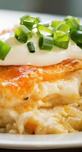 Cheesy Pierogi Lasagna - can use frozen mashed potatoes, see original recipe link: http://jayesel.net/2010/07/recipe-pierogie-casserole/