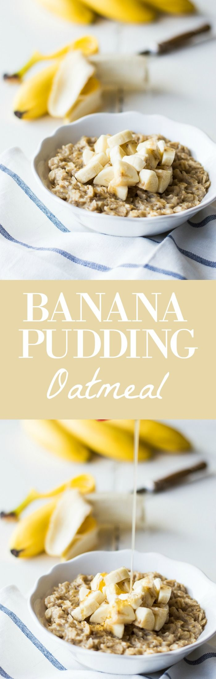Banana Pudding Oatmeal! A healthy breakfast recipe that has the flavors of banana pudding!