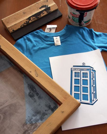 DIY TARDIS T-Shirt- screen printed with a cut out stencil = no messy photo emulsion!