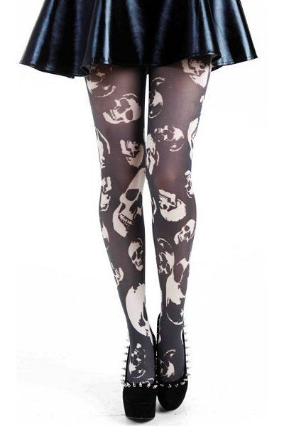 Buried Alive Printed Black Tights | Ladies Gothic Clothing