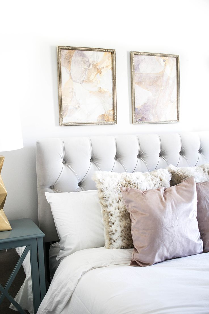 Neutral Bedroom Tour | Blogger Bedroom Tour | Velvet Headboard and Velvet Pillows | Neutral Pastel Bedding