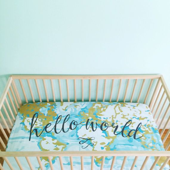 Crib Sheet Aqua Hello World. Fitted Crib Sheet. Baby Bedding. Crib Bedding…