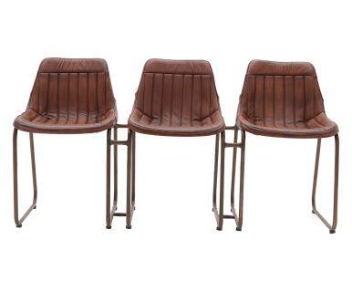 Set di 3 sedie in pelle e ferro marrone, 149x79x51 cm