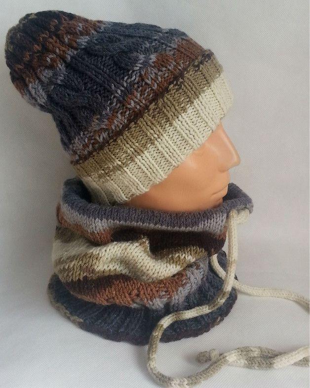 Komplet czapka + komin. - Motki - Czapki na drutach