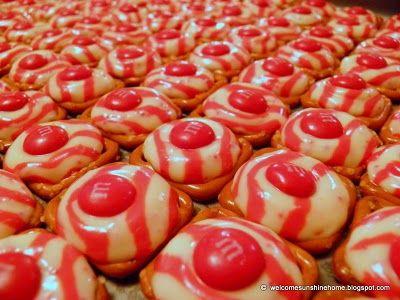 Candy Cane Kiss-topped pretzels