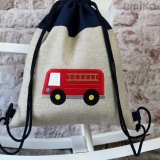 Personalized Draw String Back Pack - FIRETRUCK