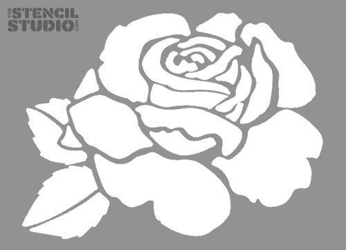 Rose Flower Stencil from The Stencil Studio. Reusable stencils for home decorating.