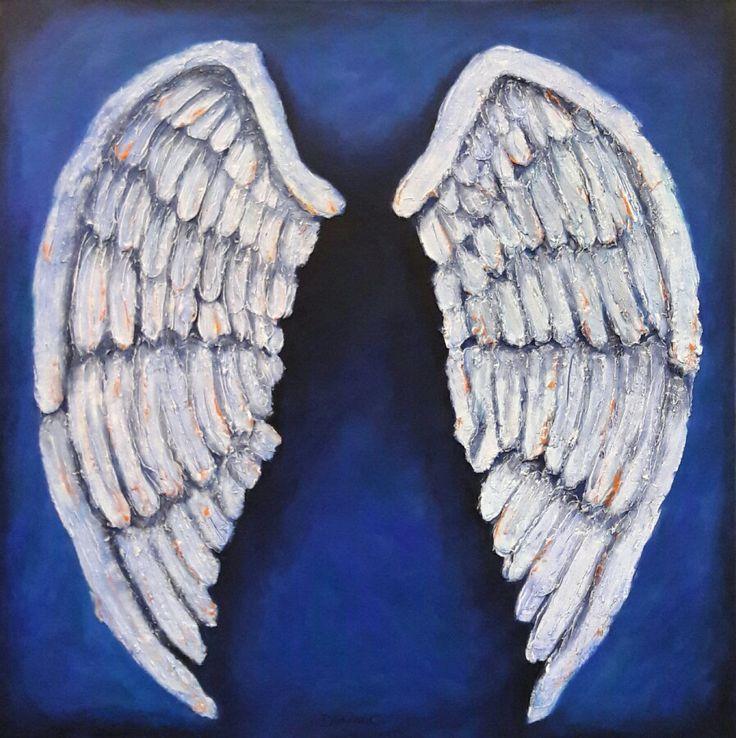 """Contigo"" #TecnicaMixta #Acrilico #yeso #alas #angel"