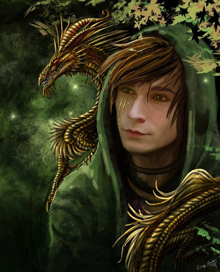 Roran, who has lived in the forest since he was young to escape the kings men, and his dragon friend, a guardian of the forest Roran lives in and extremely loyal.