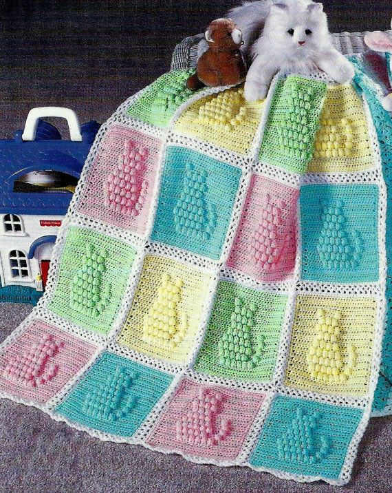 INSTANT DOWNLOAD PDF Crochet Pattern for a Kitty Cat Afghan  Gorgeous baby afghan or cot blanket with kittens in relief. Popcorn stitch.