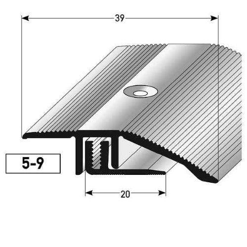Alberts 491246 profilé de compensation stratifié/parquet, 5–9 x 39 mm alu. anodisé, argenté: 39 mm de large - jusqu'à une épaisseur de 9 mm…