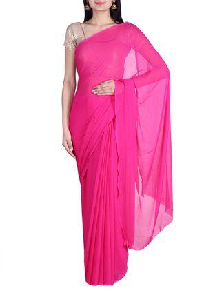Buy Saree Street pink chiffon plain  saree Online, , LimeRoad