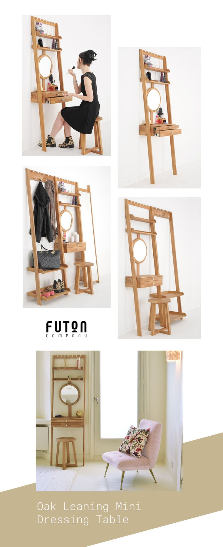 Designed to simply lean against the wall, this clever invention is easily moved around, ideal for small space living.  What's more, the mirror can be adjusted to accommodate any height.