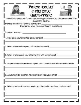 Questionnaire for Parent Teacher Conferences