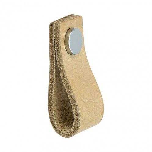 Handtag Loop - Läder Natur / Polerad Krom - Beslag Design