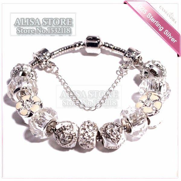 2015 moda europeia flores brancas contas de ajuste pulseira branca Pandora encanto de pérolas mulheres charme atacado - Importe Pulseiras da China