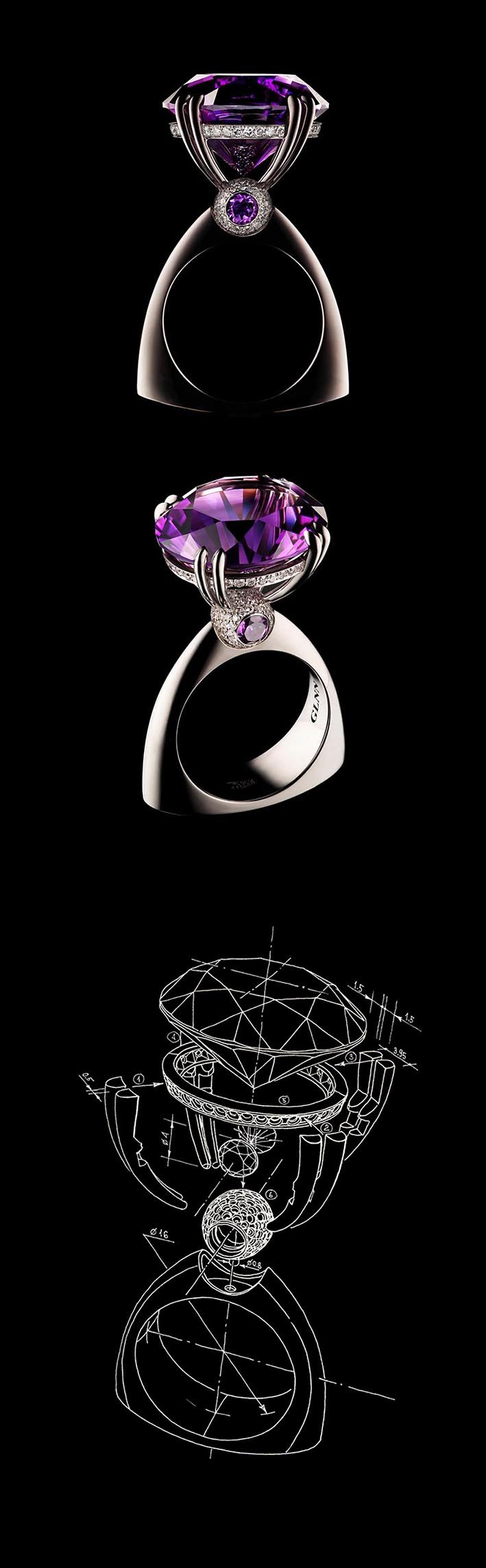 "VLAD GLYNIN jewellery - Ring ""The Eye of Providence"", 2014. White gold, amethyst, diamonds. / Кольцо ""Всевидящее"", 2014 г. Белое золото, аметист, бриллианты. / Anello ""Della Provvidenza"", 2014. Oro bianco, ametista, diamanti. I love the top part, but not keen on the shape of the band."