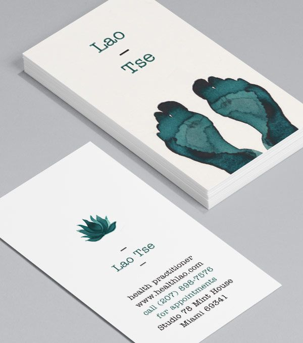 LaoTse: five calm karmic cards each depicts a different part of the human body in perfect balance, using calligraphy brushstrokes and the natural depth of watercolor ink. #moocards #businesscard