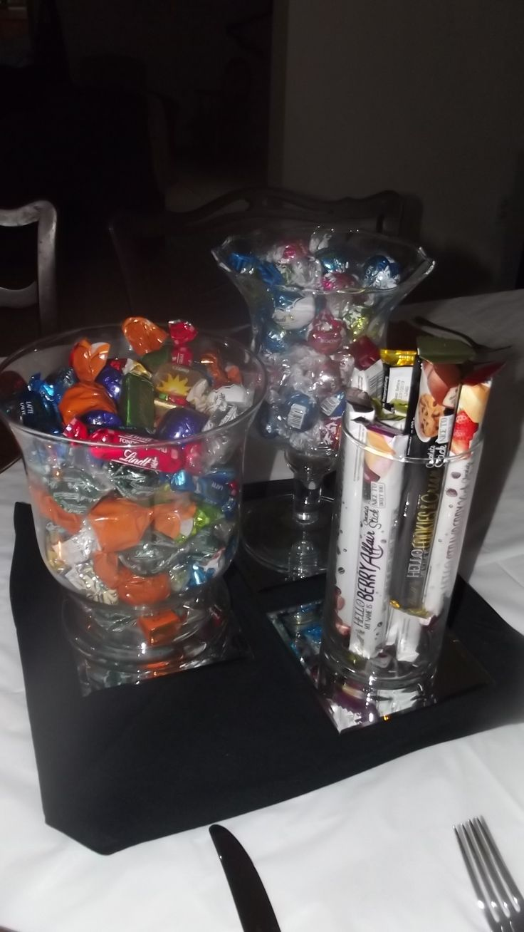 A mini candy bar centerpiece add small bags or boxes for