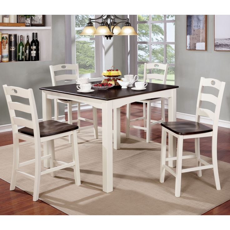 furniture of america bellorama cottage style 5piece twotone counter height dining set