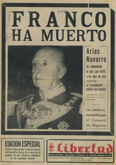 "Front page of the Spanish old newspaper ""Libertad"" on 20 November 1975 on the occasion of the death of Spanish dictator Francisco Franco."