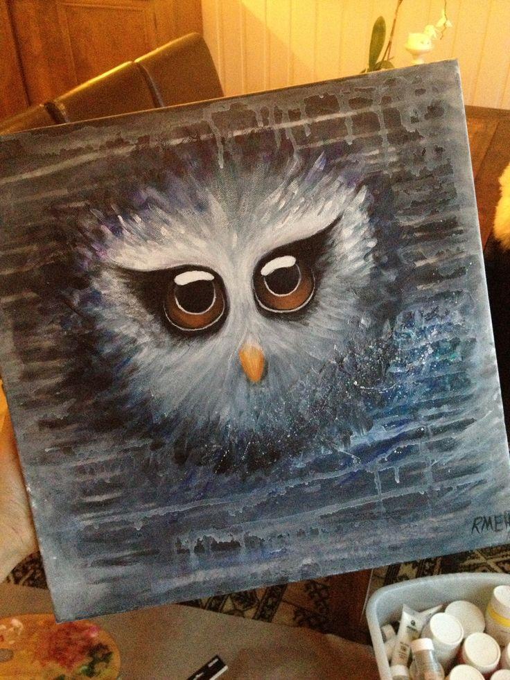 owl painting, acrylic