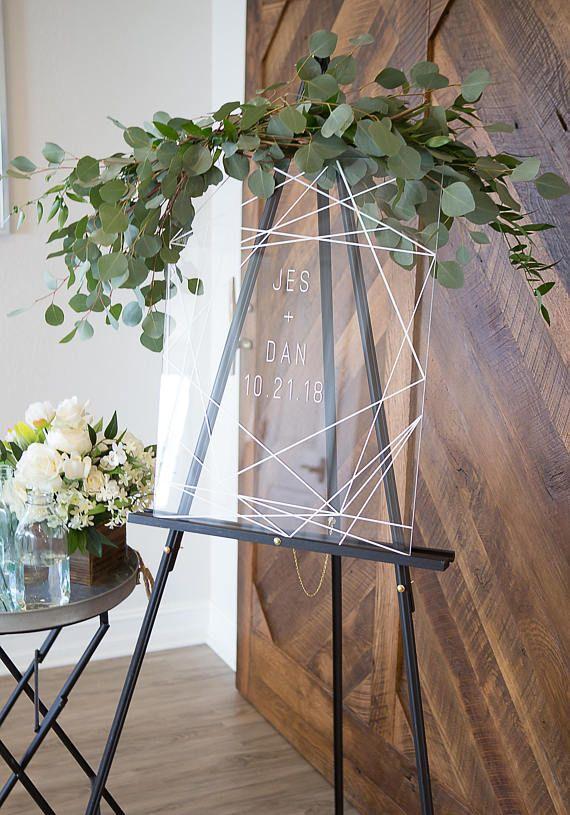 Wedding Sign Clear Acrylic Glass Look Welcome Sign, Geometric Lines Modern Minimalist Personalized #Decor #WeddingIdeas
