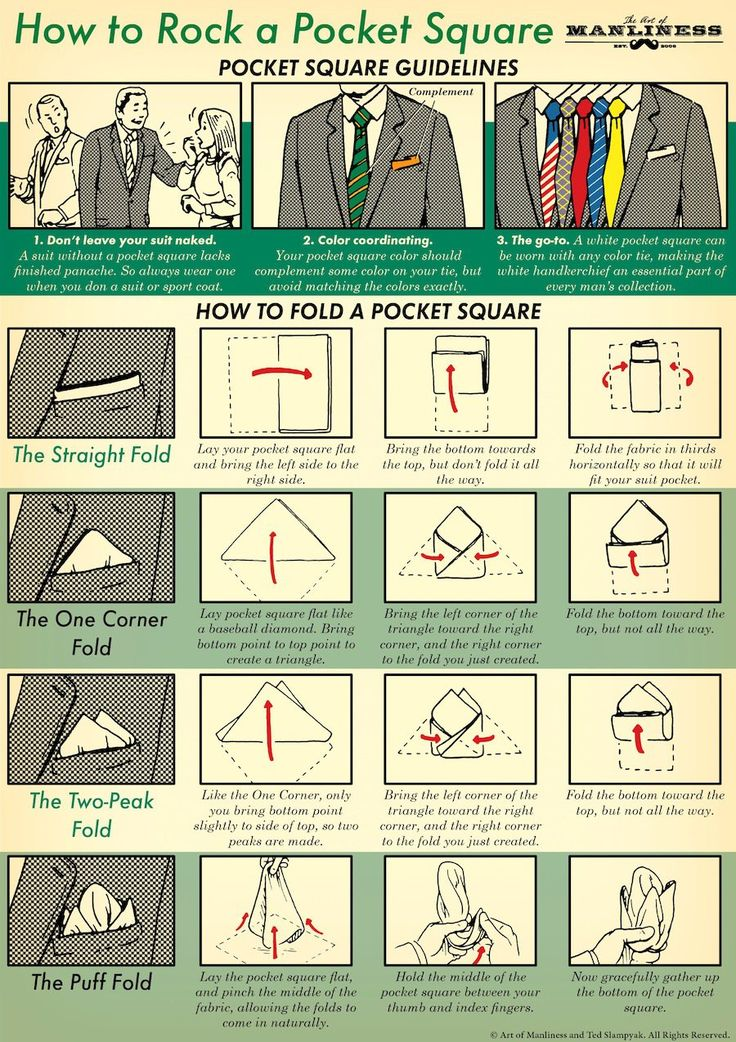 This illustrated guide shows you how to pick the right pocket square for your outfit, as well as how to fold it.