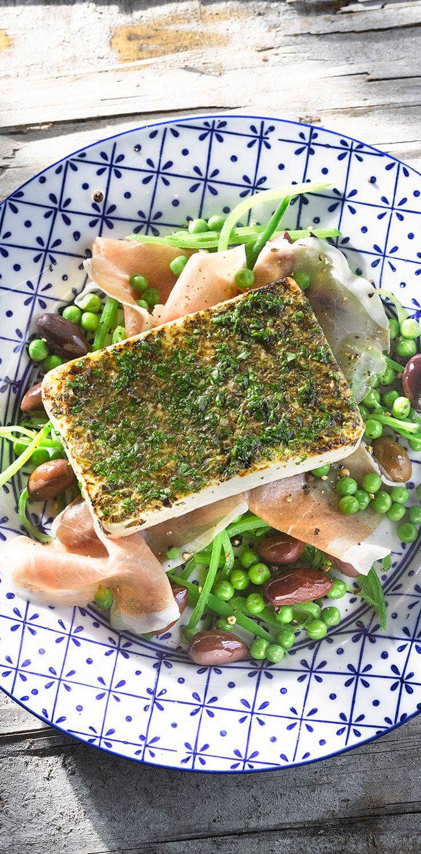 Patros für Grill & Ofen auf Zuckerschotengemüse #patros #käse #feta #fetacheese #rezept #recipe #zuckerschoten #parmaschinken