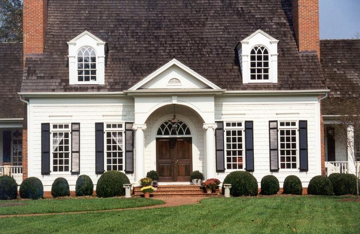 White Brick House With Shutters Columns