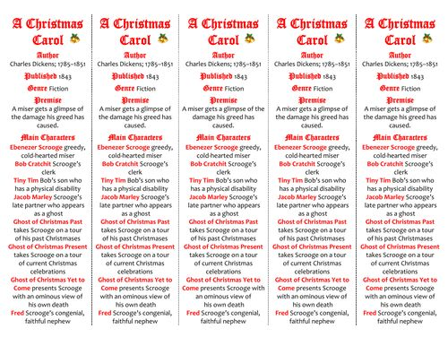 "A Christmas Carol ed. of Bookmarks Plus—Great ""Gift"" for Students and a Handy Little Reading Aid!"