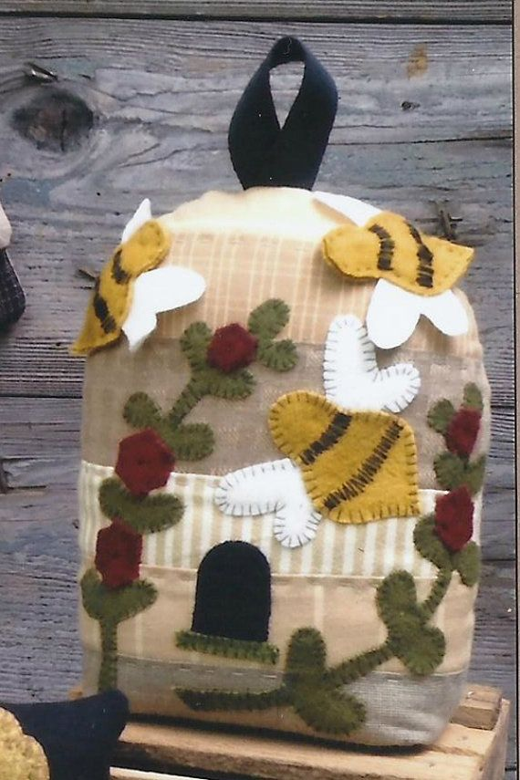 Bezige bijen vervilte wol stoffen Speldenkussens portemonnee