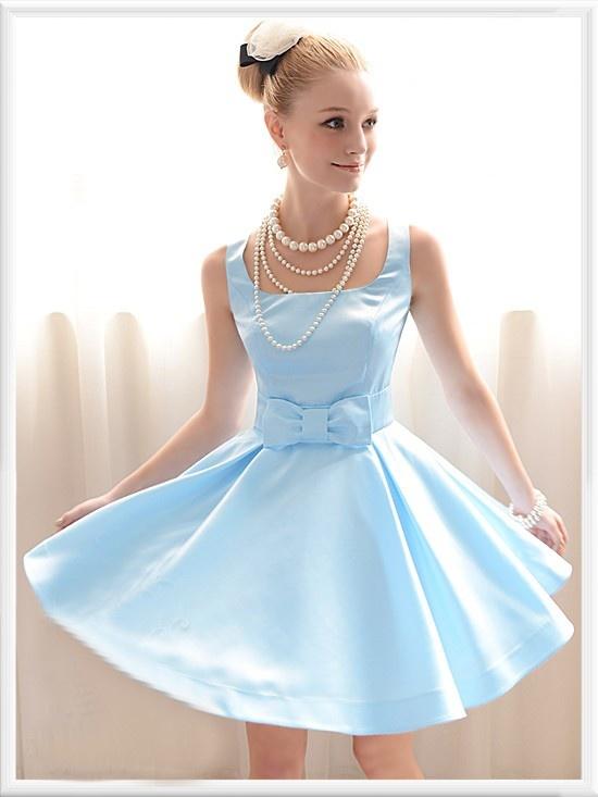 Morpheus Boutique  - Blue Satin Strap Bow Princess Pleated Dress