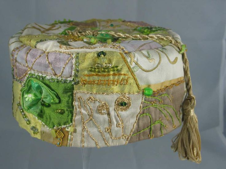 Handmade Smoking Cap - Lounging Hat - Crazy Patchwork Pure Silk Greens & Creams Plus Embroidery Etc. Small