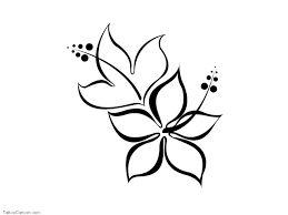 hawaiian flower tattoos black and white -