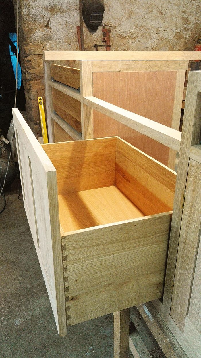 Made to measure soft close bin drawer in oak kitchen unit