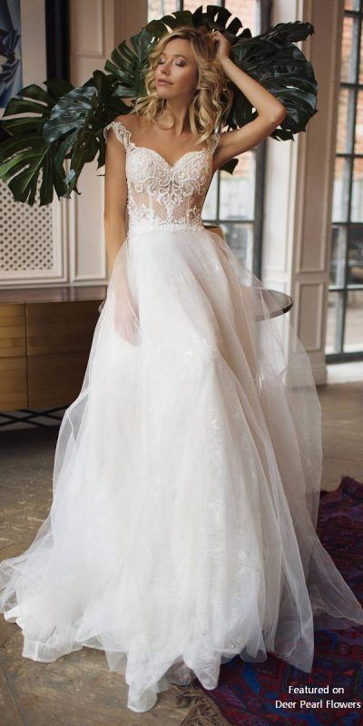 5b1b0d136b Donatella - Off Shoulder Illusion Lace Back Wedding Dress